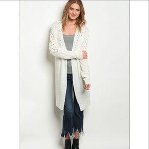 Sweaters - LAST TWO Ivory Open Long Knit Cardigan
